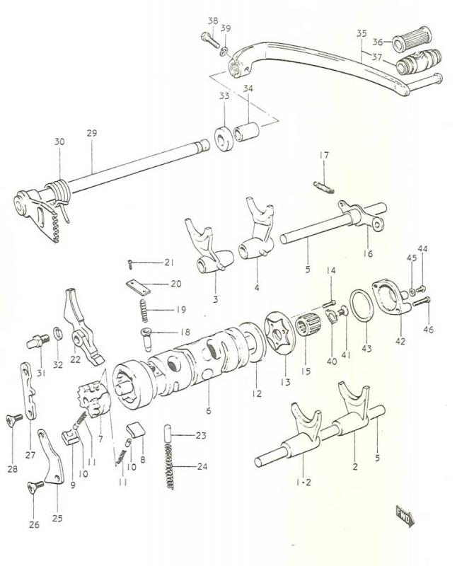 17 Vaihteensiirto Gt 250 K 1973 250 Cc Suzuki Kaksipyriset